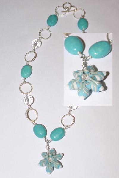 Sea star lampwork necklace web