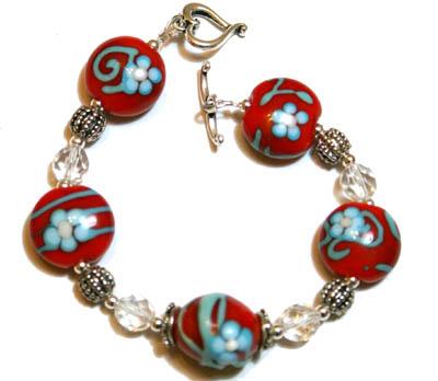 Red & turquoise bracelet